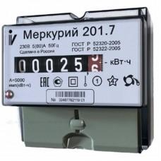 Счетчик электроэнергии Меркурий 201.7 однофазный однотарифный, 5(60), кл.точ. 1.0, D, ЭМОУ, имп. выход (32680)